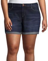 Arizona 4 1/2 Roll Cuff Midi Shorts-Juniors Plus
