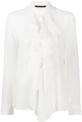 Haider Ackermann Silk Ruffle Long-Sleeve Blouse