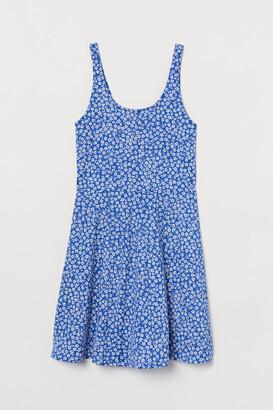 H&M Circle-skirt Jersey Dress - Blue