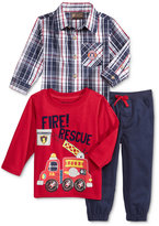 Nannette Baby Boys' 3-Pc. Fire Rescue T-Shirt, Plaid Shirt & Pants Set