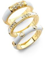 Noir Crystal & Enamel Ring- Set of 3