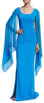 St. John Classic Cady Cape-Sleeve Column Gown, Sky