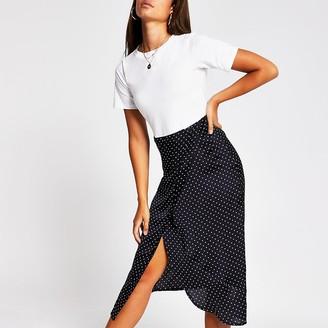 River Island White spot print short sleeve midi dress