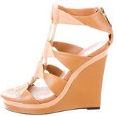 Diane von Furstenberg Leather Platform Wedge Sandals