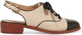 Sam Edelman Damian Two-tone Leather Slingback Brogues - Ivory