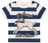 Gucci Baby hare print striped t-shirt