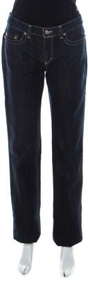 Roberto Cavalli Blue Dark Wash Denim Gold Lurex Detail Boot-Cut Jeans M