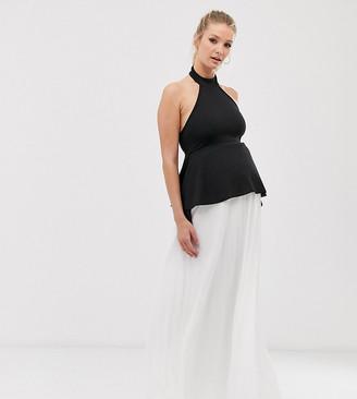 Asos DESIGN Maternity color block halter peplum detail pleated maxi dress