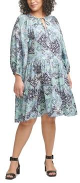 Calvin Klein Size Printed Tiered Dress