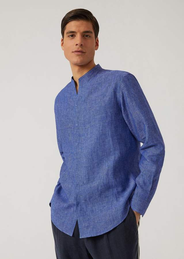 Emporio Armani Shirt In Linen Blend