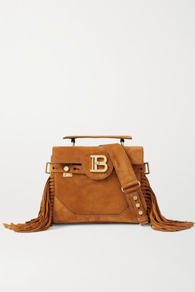 Balmain B-buzz 19 Fringed Suede Shoulder Bag - Camel