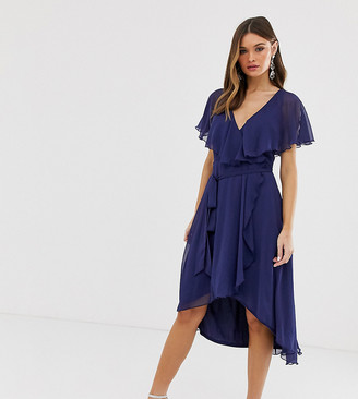 ASOS DESIGN cape back dipped hem midi dress in navy