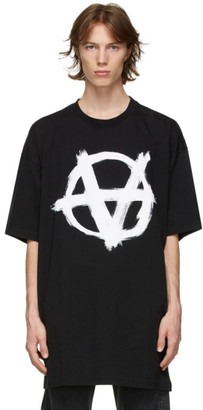 Vetements Black Oversized Anarchy Gothic Logo T-Shirt