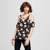 Blu Pepper BLU·PEPPER Women's Floral Cold Shoulder Lattice Top Juniors') Black