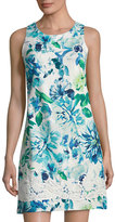 Eliza J Floral-Print Sleeveless Shift Dress, Blue Pattern