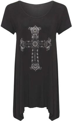 DIGITAL SPOT Womens Diamante Jewel Cross Flared Hanky Hem Top Ladies Fancy Plus Size Shirt Black UK 16