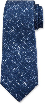Kiton Men's Scratch-Print Silk Tie, Navy