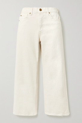 The Great The Rider High-rise Wide-leg Jeans - White