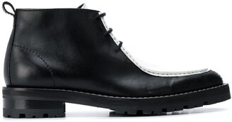 Ami Contrast Panel Lace-Up Ankle Boots