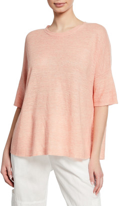 Eileen Fisher Organic Linen Elbow-Sleeve Melange Sweater