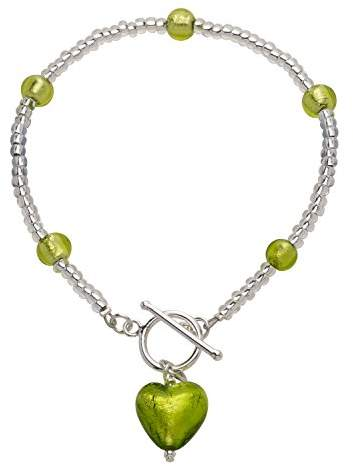 Glass Heart Amanti Venezia Lime Murano and Coterie Bead Sterling Silver Bracelet of Length 21.5 cm