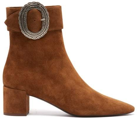 Saint Laurent Joplin Western Suede Boots - Womens - Tan