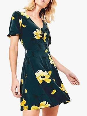 Oasis Rose Print Skater Dress, Multi Green