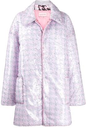 Natasha Zinko Oversized Sequinned Houndstooth Print Coat