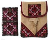 Hill Tribe Embroidered Hemp Purse and Phone Pouch, 'Ethnic Rose'