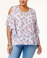 Melissa McCarthy Trendy Plus Size Cold-Shoulder Fringe Top