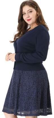 Unique Bargains Women's Solid Button Down Long Sleeve Cropped Bolero Cardigans Blue