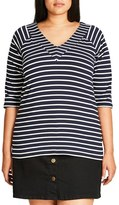 City Chic Plus Size Women's Stripe V-Neck Top
