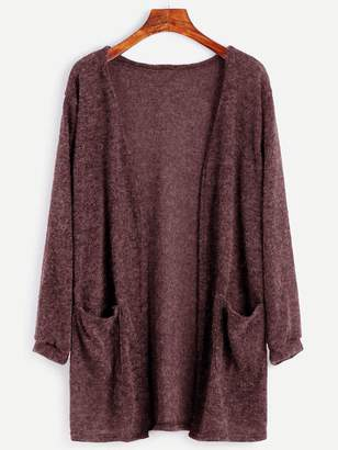 Shein Dual Pocket Open Front Cardigan