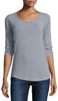 Majestic Paris for Neiman Marcus Striped 3/4-Sleeve Top
