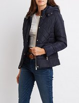 Charlotte Russe Quilted Hooded Puffer Jacket