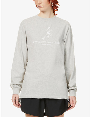 Sporty & Rich Stay Active Live Longer cotton-jersey top