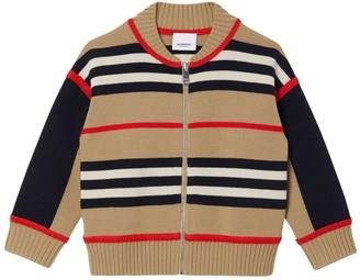 Burberry Heritage Stripe Wool Blend Knit Cardigan