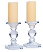 The Well Appointed House Pair of Lauren Glass Candlesticks - LOW STOCK