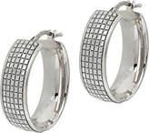 Italian Silver Glitter Oval Hoop Earrings,Sterling