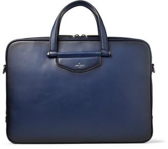 Jimmy Choo KNOX Ink Blue Sprayed Leather Briefcase with Gel Laptop Pocket