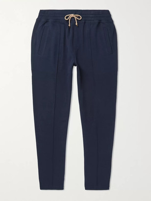Brunello Cucinelli Tapered Cotton-Blend Jersey Sweatpants - Men - Blue