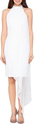 Betsy & Adam Asymmetrical Chiffon Overlay Crepe Dress