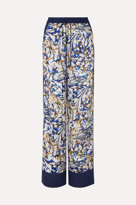 Mary Katrantzou Macaw Printed Twill Wide-leg Pants - Blue