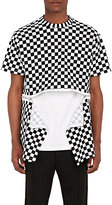 Givenchy MEN'S ZIPPER-DETAILED CHECKED COTTON JERSEY T-SHIRT