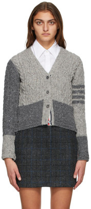 Thom Browne Grey Wool and Mohair Funmix Aran Cable 4-Bar Cardigan