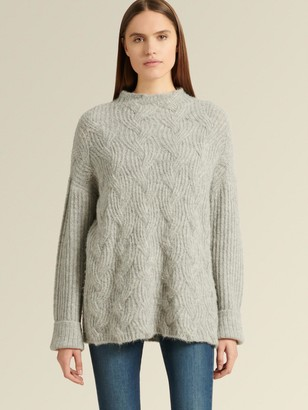 DKNY Mock-neck Cable-knit Sweater