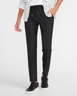 Express Slim Solid Blend Drawstring Dress Pant