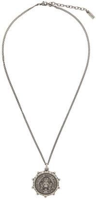 Saint Laurent Silver Lion Medallion Pendant Necklace