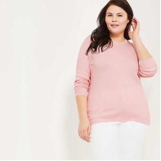 Joe Fresh Women+ Cable Knit Sweater, Dusty Blue (Size 1X)