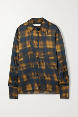 Proenza Schouler White Label Checked Hammered-satin Shirt - Midnight blue
